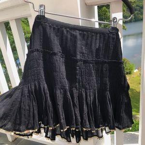 Love Shack Fancy Black Pleated Hold Sequin Skirt